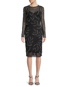 Embellished Long Sleeve Sheath Dress by Betsy & Adam