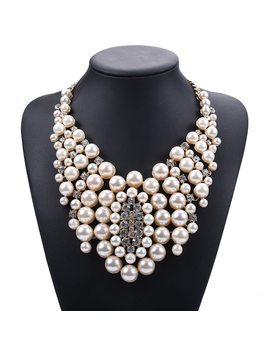 Big Imitation Pearl Necklace Women Jewelry Fashion Accessories Gold Color Chunky Chain Beads Collar Chokers by Jerpvte