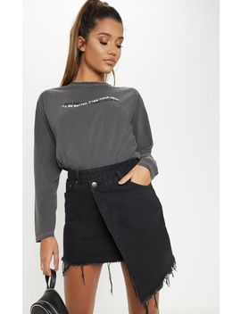 Black Wrap Denim Skirt  by Prettylittlething