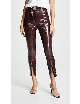 High Waist Leggings With Snap Detail In Oxblood by Alexander Wang
