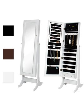 Mirrored Jewelry Cabinet Armoire W/ Stand Mirror Rings, Necklaces, Bracelets by Best Choice Products