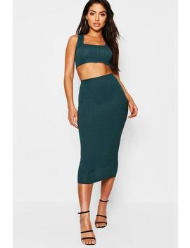 Jumbo Rib Square Neck Bralet / Midaxi Co Ord by Boohoo