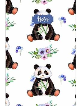 Notes: 120 Blank Lined Page Softcover Notes Journal, College Ruled Composition Notebook, 6x9 Blank Line Watercolor Cute Panda Design Cover Note Book by Tri Moon Press
