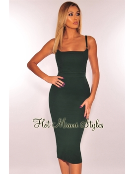 Hunter Green Bustier Neckline Dress by Hot Miami Style