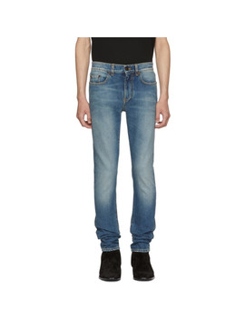 Blue 70's Low Rise Skinny Jeans by Saint Laurent