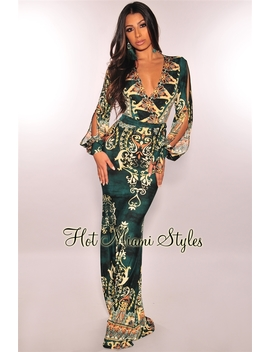 Emerald Victorian Slit Sleeves Maxi Dress by Hot Miami Style