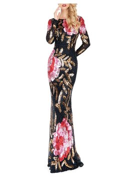 Floral Sequin Long Sleeve Column Gown by Mac Duggal