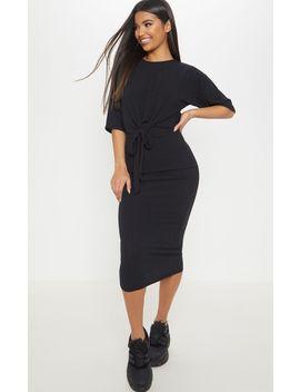 Black Rib High Waisted Midi Skirt by Prettylittlething
