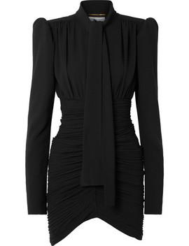Tie Front Ruched Crepe Mini Dress by Saint Laurent
