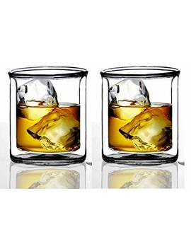 Strong | Double Wall Insulated Tumbler Set By Sun's Tea (Tm) | 9oz | Double Rocks Glass Old Fashioned Whiskey Glasses – (Set Of 2) Borocilicate Drinking Glasses by Sun's Tea