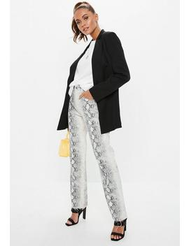 Gray Denim Snake Print Straight Cropped Jeans by Missguided