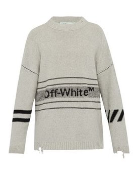 Distressed Logo Purl Knit Sweatshirt by Off White