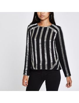 Petite Black Stripe Sequin Long Sleeve Top by River Island