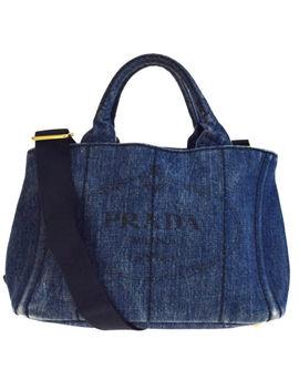 Authentic Prada Logos Canapa 2 Way Shoulder Hand Bag Denim Leather Blue 65 Ea454 by Prada