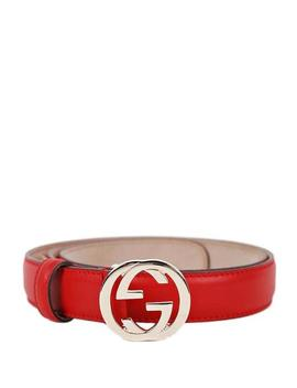 Red Interlocking G Buckle Belt by Gucci