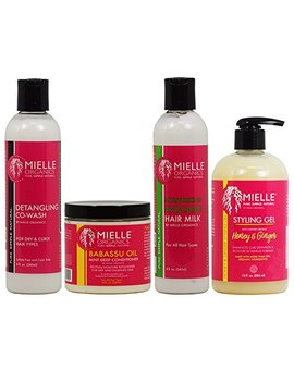 "Mielle Organics Detangling Co Wash & Babassu Oil Conditioner & Hair Milk 8oz & Styling Gel 13oz ""Combo"" by Mielle"