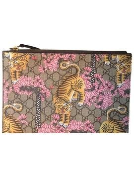 Pouch Multicolor Brown Gg Supreme Bengal Canvas Clutch by Gucci