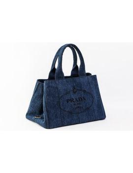 Authentic Prada Canapa B1877 B Navy Denim Tote Bag #11482 Yer by Prada