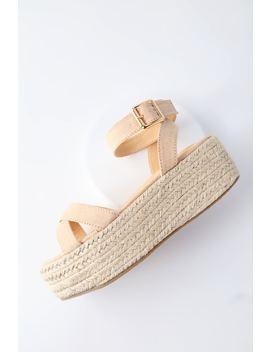 Cobi Nude Espadrille Platform Sandals by Lulu's