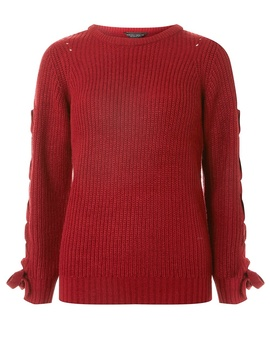 Aubergine Lace Up Sleeve Jumper by Dorothy Perkins