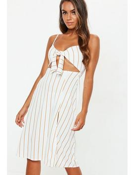 White Tie Front Stripe Midi Dress by Missguided