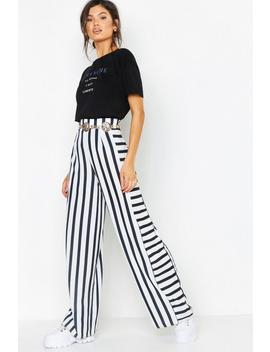 Contrast Stripe Woven Wide Leg Trousers by Boohoo