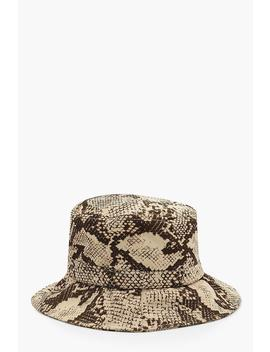 All Over Faux Snake Bucket Hat by Boohoo