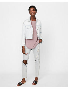 Tie Sleeve Cropped Denim Boyfriend Jacket by Express