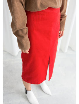 Front Slit Corduroy Midi Skirt by & Other Stories