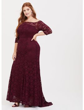 Special Occasion Burgundy Lace Off Shoulder Maxi Dress by Torrid