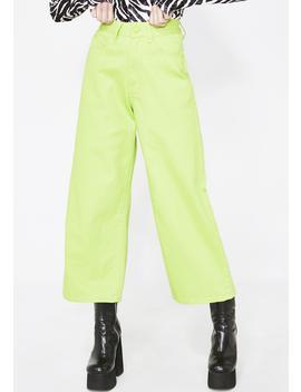 Lo Lime Wide Leg Jeans by Lazy Oaf
