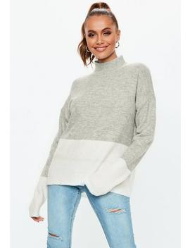 Grey High Neck Colourblock Jumper by Missguided