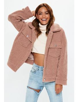 Rose Teddy Trucker Jacket by Missguided