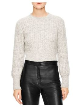 Soyeux Cropped Cable Knit Sweater by Sandro