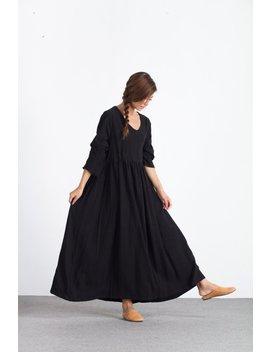 Frauen Lose Maxi Kleid Leinen Pullover Leinen Kaftan Leinen Kaftan Plus Size Kleidung Groß Kleid Custom Made Kleid A16 by Etsy