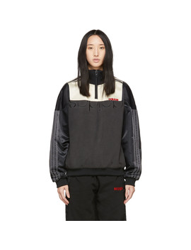 Black & Off White Disjoin Half Zip Sweater by Adidas Originals By Alexander Wang