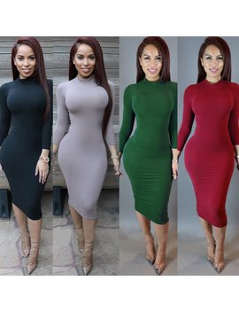Sexy Women Bandage Dress Autumn Turtleneck Slim Long Sleeve Bodycon Dress Fashion High Neck Club Sheath Wrap Dresses Ho950173 by Hengsong
