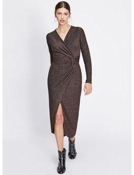 Miss Selfridge   Bronze Lurex Twist Maxi Dress by Miss Selfridge