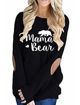 Albizia Women's Long Sleeve Crew Neck Mama Bear Elbow Patch T Shirt Top by Albizia