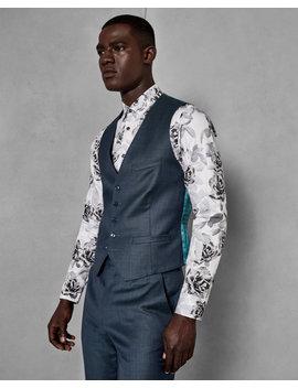 Debonair Slim Plain Wool Waistcoat by Ted Baker