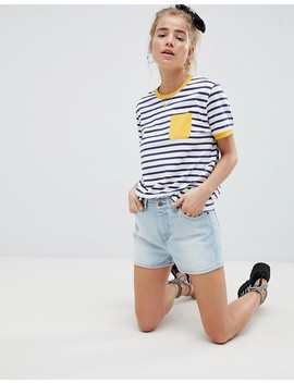 Asos Design   T Shirt A Righe Con Tasca A Contrasto by Asos