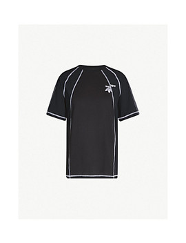 Logo Embroidered Cotton And Satin T Shirt by Adidas X Alexander Wang