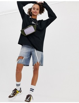 """Crooked Tongues   T Shirt Oversize A Maniche Lunghe Nera Con Scritta """"Drive Thru"""" by Asos"""