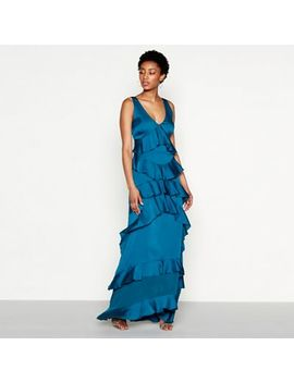 Yas   Blue Ruffle 'gaya' V Neck Full Length Evening Dress by Yas