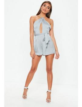 Grey Cut Out Halter Strappy Back Playsuit by Missguided