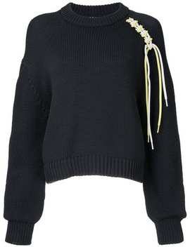 Lace Up Cropped Jumper by Tibi