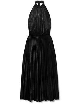 Giovanna Satin Trimmed Pleated Velvet And Lurex Maxi Dress by Raquel Diniz