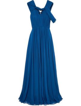 Cold Shoulder Pleated Silk Chiffon Gown by Jason Wu