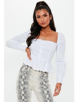 White Square Neck Peplum Top by Missguided