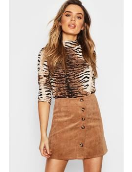 Baby Cord Button Through Skirt by Boohoo